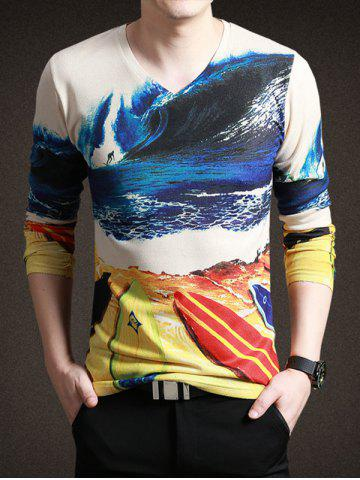 Trendy Refreshing Beach Print V-Neck Long Sleeve Tee For Men COLORMIX 3XL