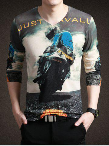 Affordable Stylish Moto Print V-Neck Long Sleeve Tee For Men COLORMIX 3XL