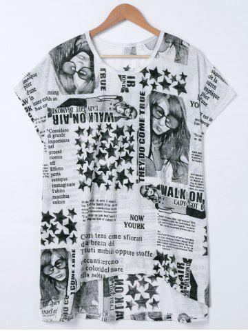 Discount Short Sleeve Letter Star Printed T-Shirt