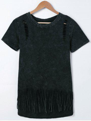 Outfits Short Sleeve Ripped Fringed T-Shirt