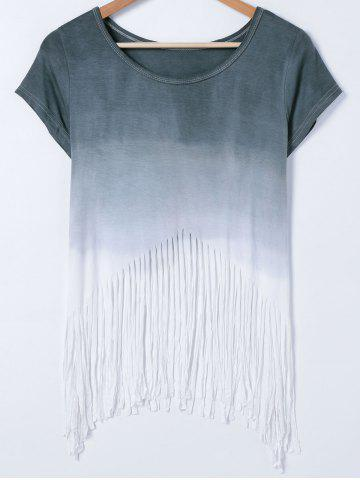 Outfits Short Sleeve Gradient Color Fringed T-Shirt