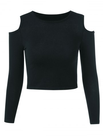 Buy Cut Out Long Sleeve Pure Color Sweater