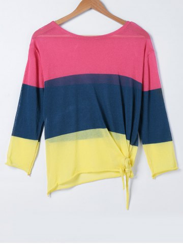 Chic Hit Color Loose Long Sleeve Sweater