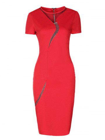 Short Sleeve Mesh Inset Bodycon Dress - Red - 5xl