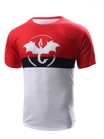 Chic Abstract Print Color Block Round Neck Short Sleeves T-Shirt For Men - S RED WITH WHITE Mobile