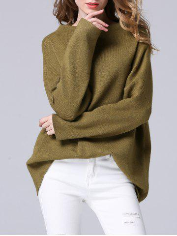 Elegant Dolman SLeeve Pure Color Loose-Fitted Chunky Sweater - Flax Green - One Size