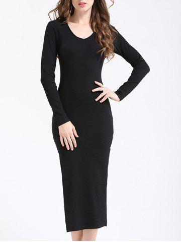 Trendy Elegant V Neck Long Sleeve Sheath Slit Knitted Dress