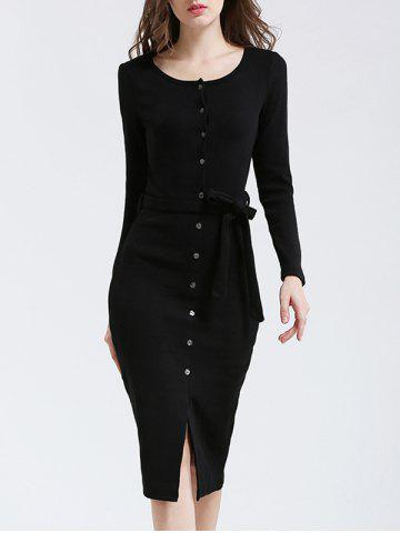 Online Belted Button Up Bodycon Long Sleeve Midi Jumper Dress - M BLACK Mobile