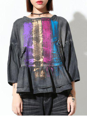 New Colorful Loose Flounce Blouse