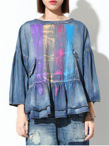 Trendy Colorful Loose Flounce Blouse