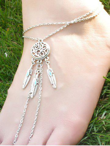 Chic Bohemian Style Faux Turquoise Feather Anklet