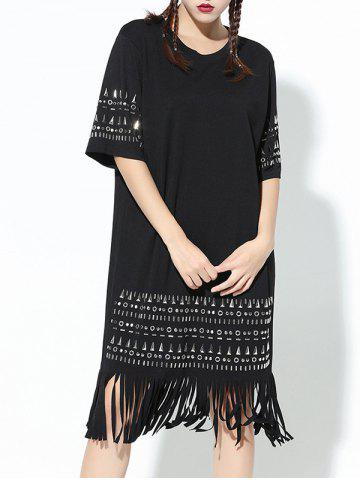 Outfits Fashion Rivet Design Fringe Loose Shift Dress