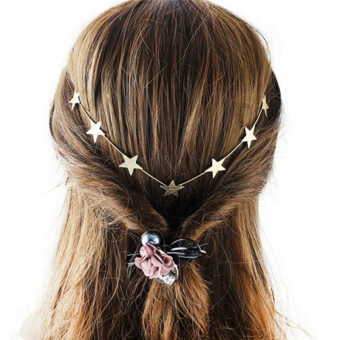Buy Chic Style Solid Color Gold Plated Star Charm Hairband For Women GOLDEN