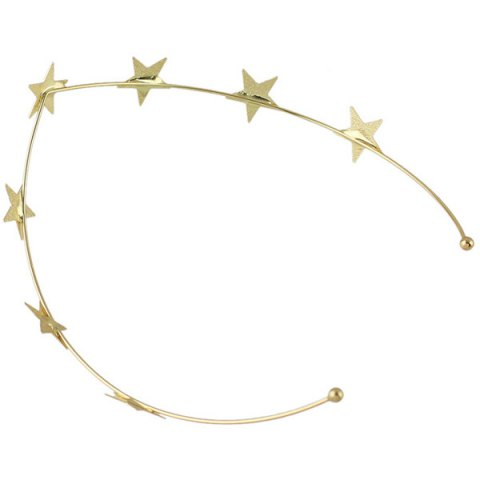 Shop Chic Style Solid Color Gold Plated Star Charm Hairband For Women - GOLDEN  Mobile