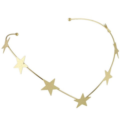 Discount Chic Style Solid Color Gold Plated Star Charm Hairband For Women - GOLDEN  Mobile