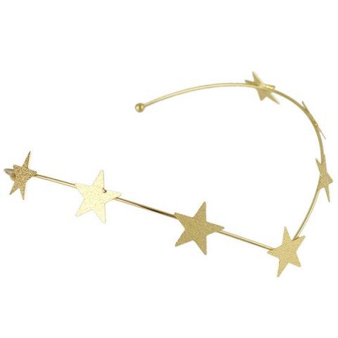 Outfits Chic Style Solid Color Gold Plated Star Charm Hairband For Women - GOLDEN  Mobile