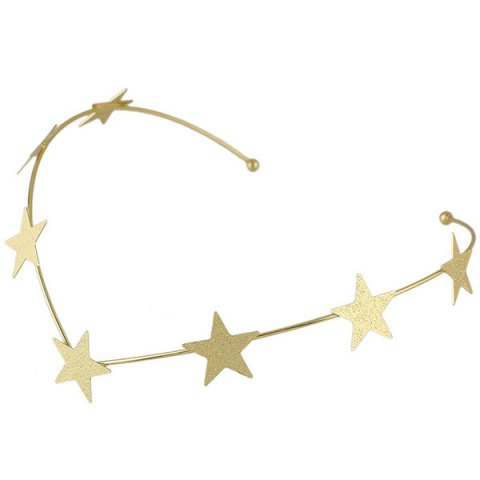 Trendy Chic Style Solid Color Gold Plated Star Charm Hairband For Women - GOLDEN  Mobile