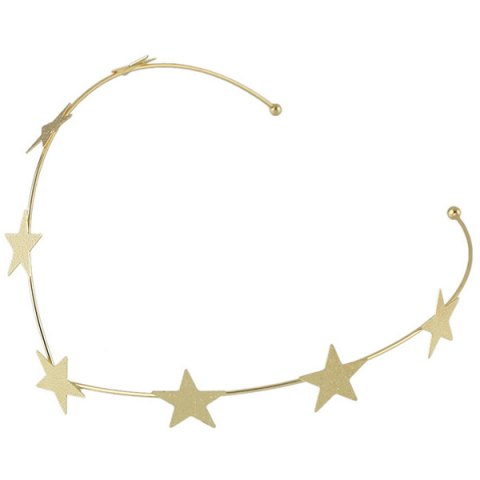Fancy Chic Style Solid Color Gold Plated Star Charm Hairband For Women - GOLDEN  Mobile