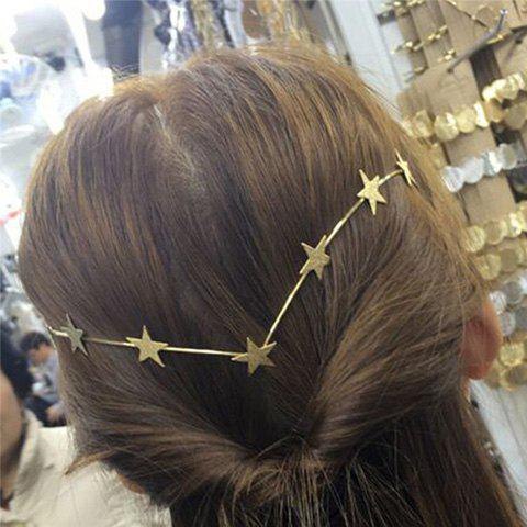 Hot Chic Style Solid Color Gold Plated Star Charm Hairband For Women - GOLDEN  Mobile