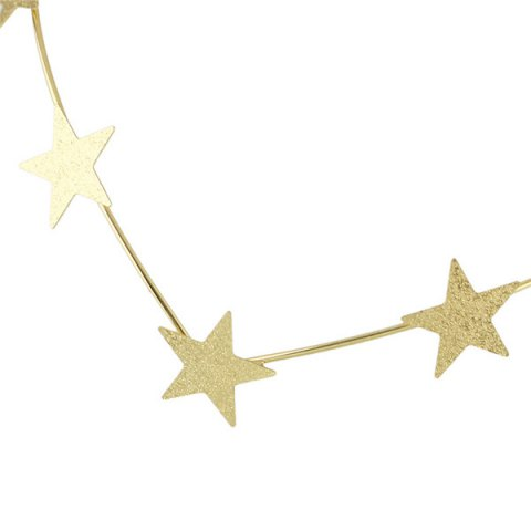 Unique Chic Style Solid Color Gold Plated Star Charm Hairband For Women - GOLDEN  Mobile