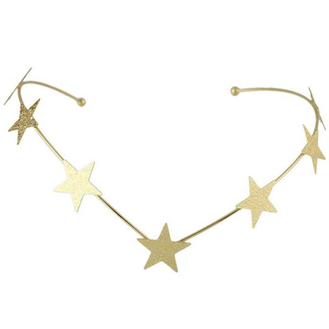 Fashion Chic Style Solid Color Gold Plated Star Charm Hairband For Women - GOLDEN  Mobile