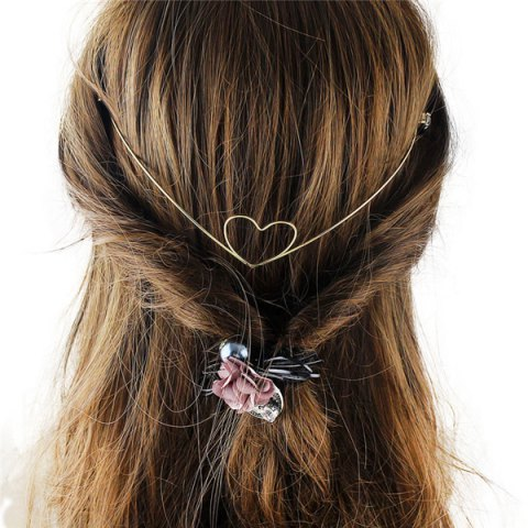 Fashion Charming Cut Out Heart Shape Solid Color Gold Plated Hairband For Women
