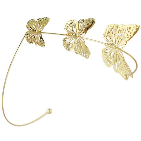 Unique Charming Gold Plated Cut Out Butterfly Embellished Hairband For Women - GOLDEN  Mobile