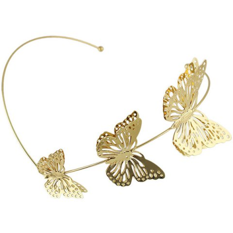 Fancy Charming Gold Plated Cut Out Butterfly Embellished Hairband For Women - GOLDEN  Mobile