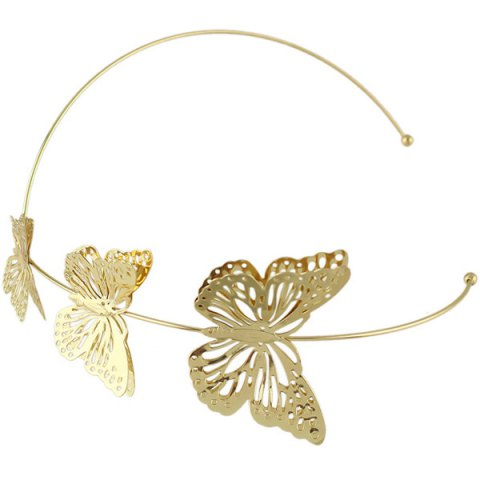 Trendy Charming Gold Plated Cut Out Butterfly Embellished Hairband For Women - GOLDEN  Mobile