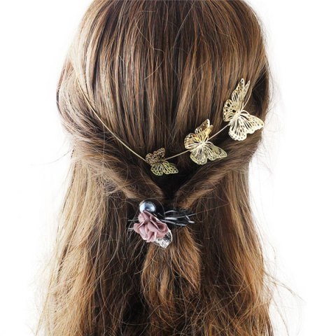 Discount Charming Gold Plated Cut Out Butterfly Embellished Hairband For Women - GOLDEN  Mobile