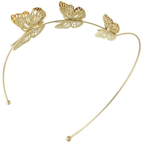 Shop Charming Gold Plated Cut Out Butterfly Embellished Hairband For Women - GOLDEN  Mobile