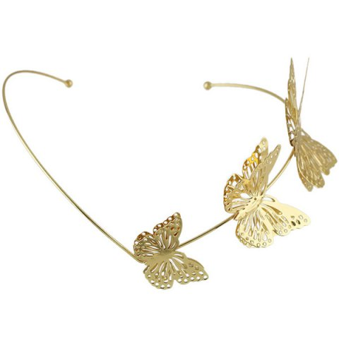 Outfits Charming Gold Plated Cut Out Butterfly Embellished Hairband For Women - GOLDEN  Mobile