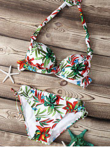 Fancy Refreshing Floral Print Push Up Women's Bikini Set