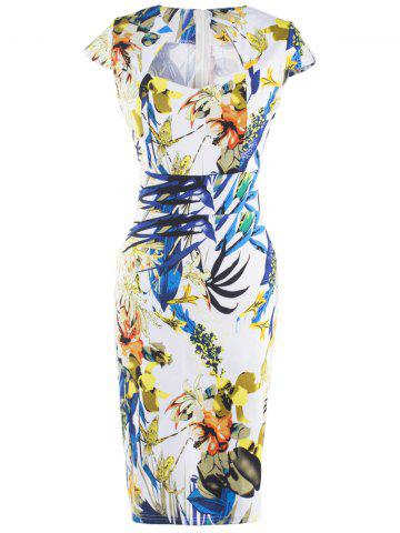 Sale Fashionable Floral Print Skinny Slimming Women's Dress COLORMIX 2XL