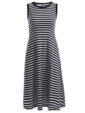 Shops Chic Round Neck Sleeveless Striped Women's Dress
