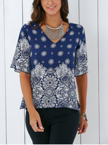 Bohemian Tribal Print Furcal Blouse - Deep Blue - M