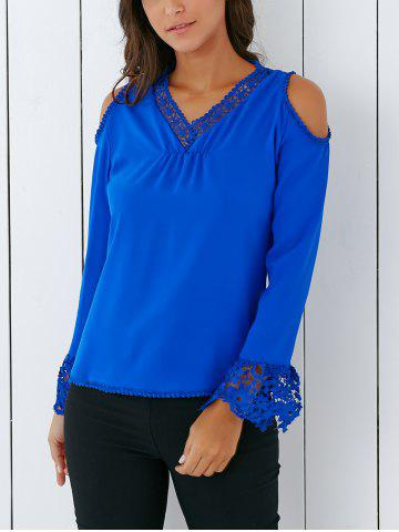 New Trendy V Neck Lace Spliced Hollow Out Crochet Blouse
