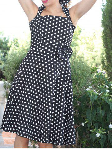 Affordable Retro Style Turn-Down Collar Sleeveless Polka Dot Bow Embellished Women's Dress