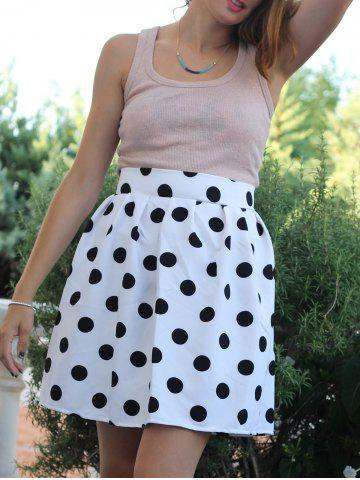 Outfit Retro Style High-Waisted Polka Dot Ruffled Women's Skirt