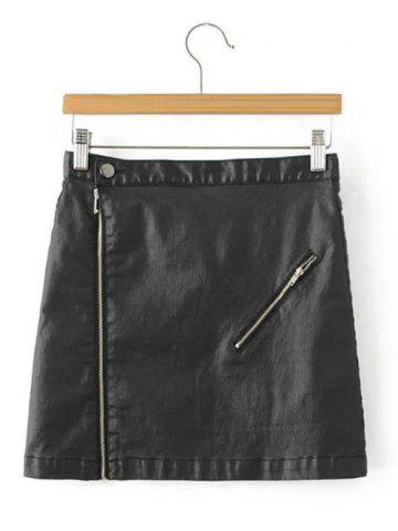 Best Faux Lether Zip Mini Skirt BLACK L