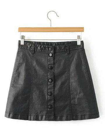Chic Stylish Black Faux Lether Front Button Up Short Skirt