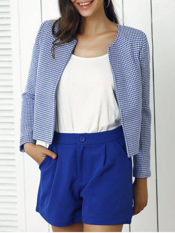 Fancy Houndstooth Pattern Coat and Pure Color Shorts Twinset