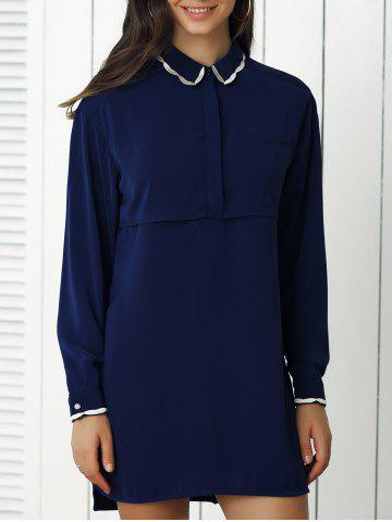 Chic Peter Pan Collar Pure Color Dress