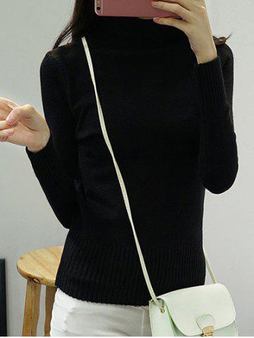 Fancy High Neck Pure Color Long Sleeve Sweater BLACK ONE SIZE