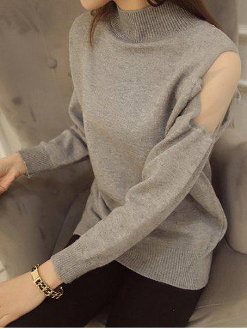 Fancy Voile Splicing High Neck Candy Color Sweater
