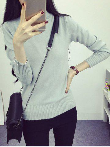 Outfits High Neck Long Sleeve Candy Color Sweater