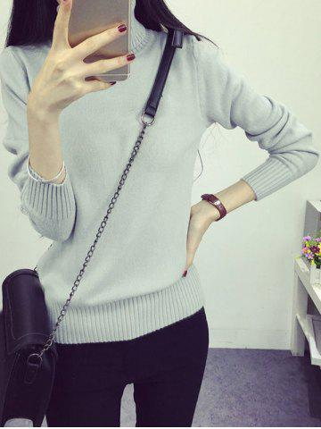 Shop High Neck Sweet Solid Color Sweater