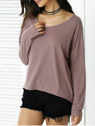 High-Low Loose Fit Long Sleeve Tee - Chocolate - M