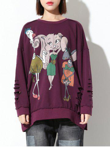 Latest Ripped Cartoon Print Loose Sweatshirt