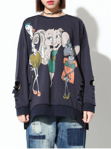 Affordable Ripped Cartoon Print Loose Sweatshirt